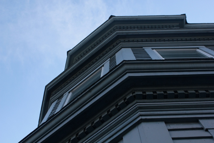 Looking up to our living room bay window