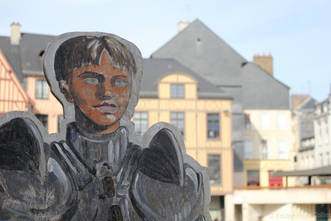 A wooden model of Joan of Arc in the Place du Vieux Marché, where she had been executed.