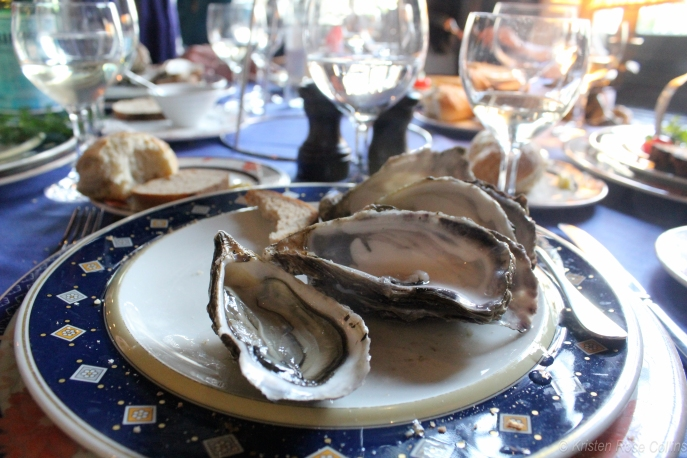 Oysters for lunch at La Couronne, the oldest inn in France, established in 1345, and where Julia Child ate her first French meal.
